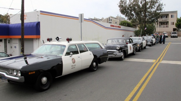 vintage LAPD patrol cars Hermosa Beach St Pats Day 2011 labeled