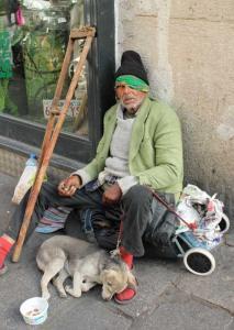 homeless man w pup